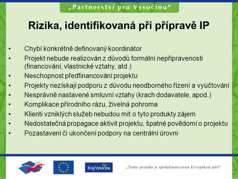 Rizika, identifikovaná při přípravě IP