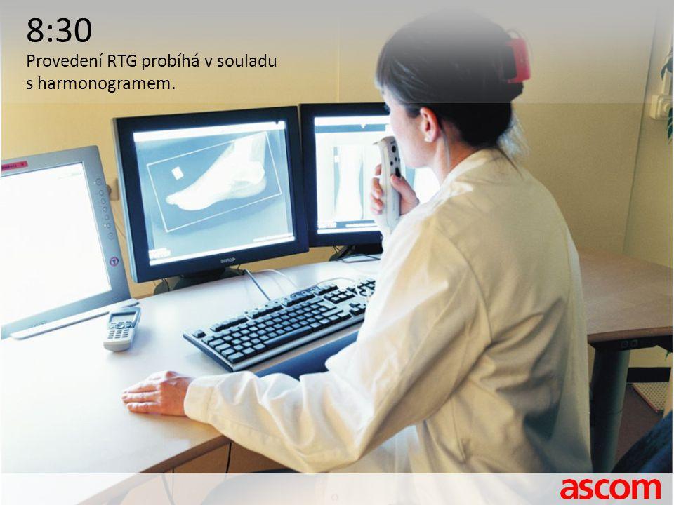 8:30 Provedení RTG probíhá v souladu s harmonogramem.