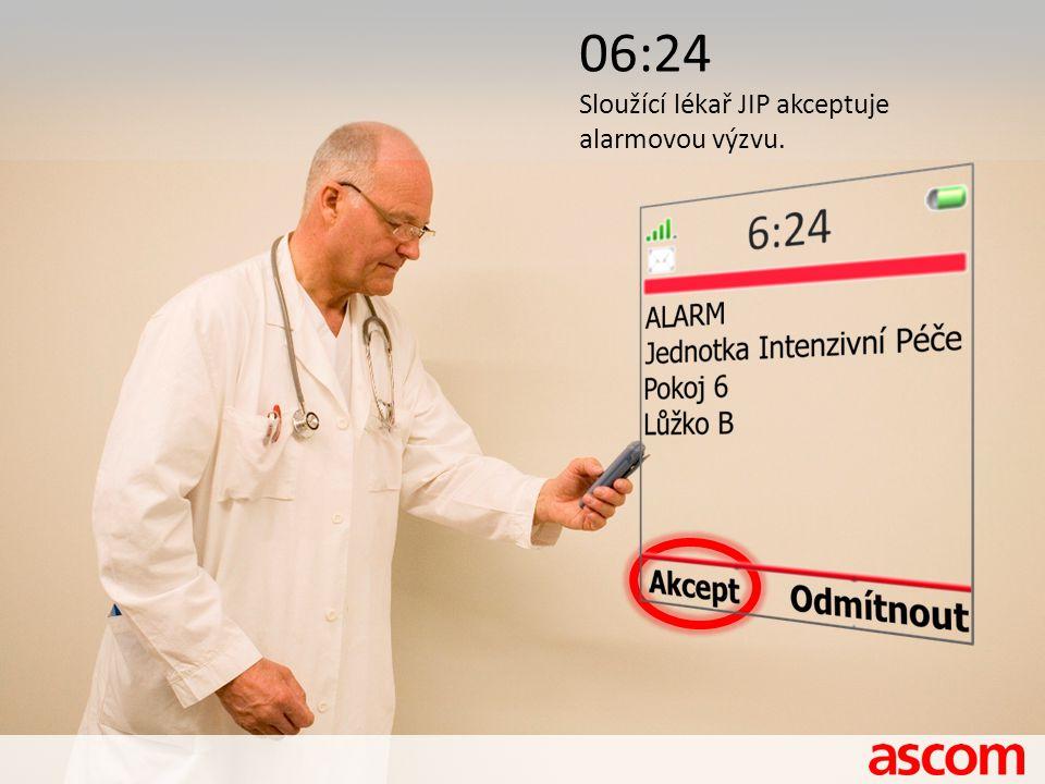 06:24 Sloužící lékař JIP akceptuje alarmovou výzvu.
