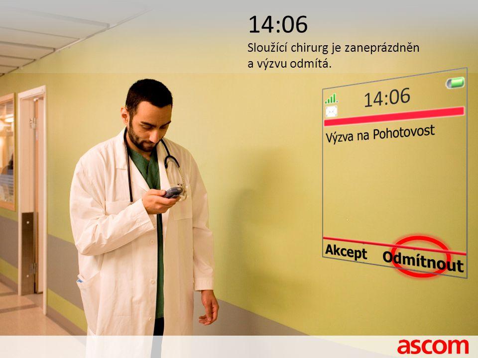 14:06 Sloužící chirurg je zaneprázdněn a výzvu odmítá.