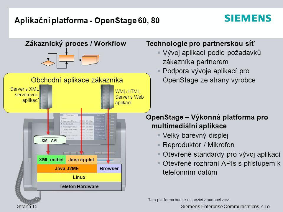 Aplikační platforma - OpenStage 60, 80