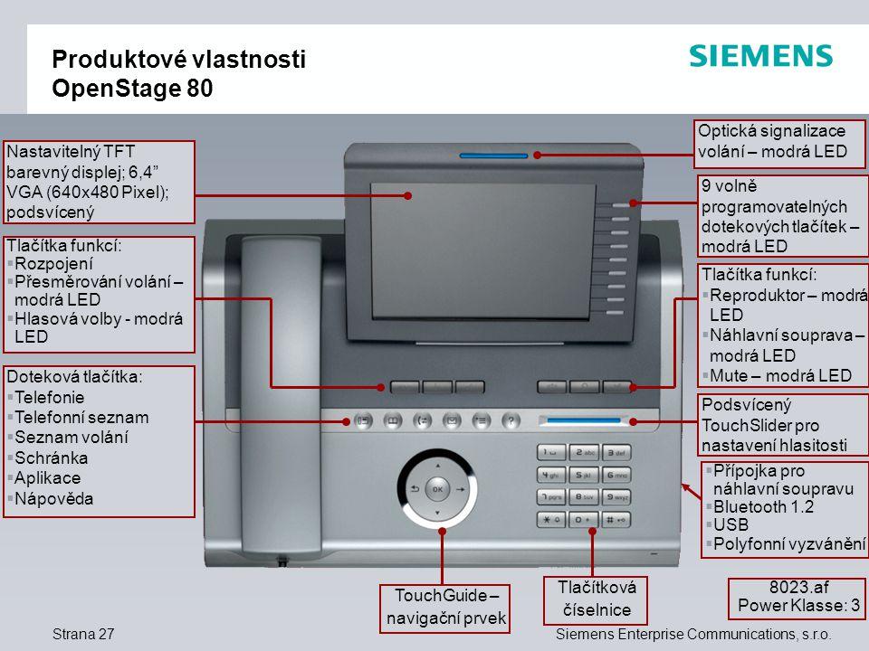 Produktové vlastnosti OpenStage 80