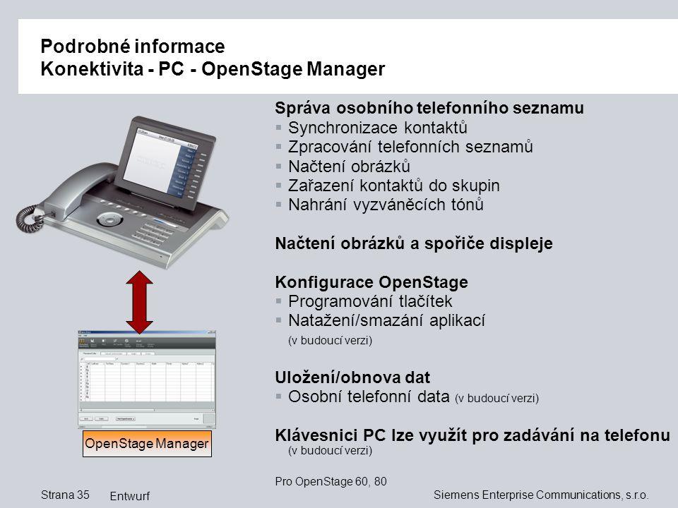Podrobné informace Konektivita - PC - OpenStage Manager