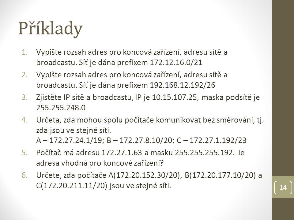 Příklady Vypište rozsah adres pro koncová zařízení, adresu sítě a broadcastu. Síť je dána prefixem 172.12.16.0/21.