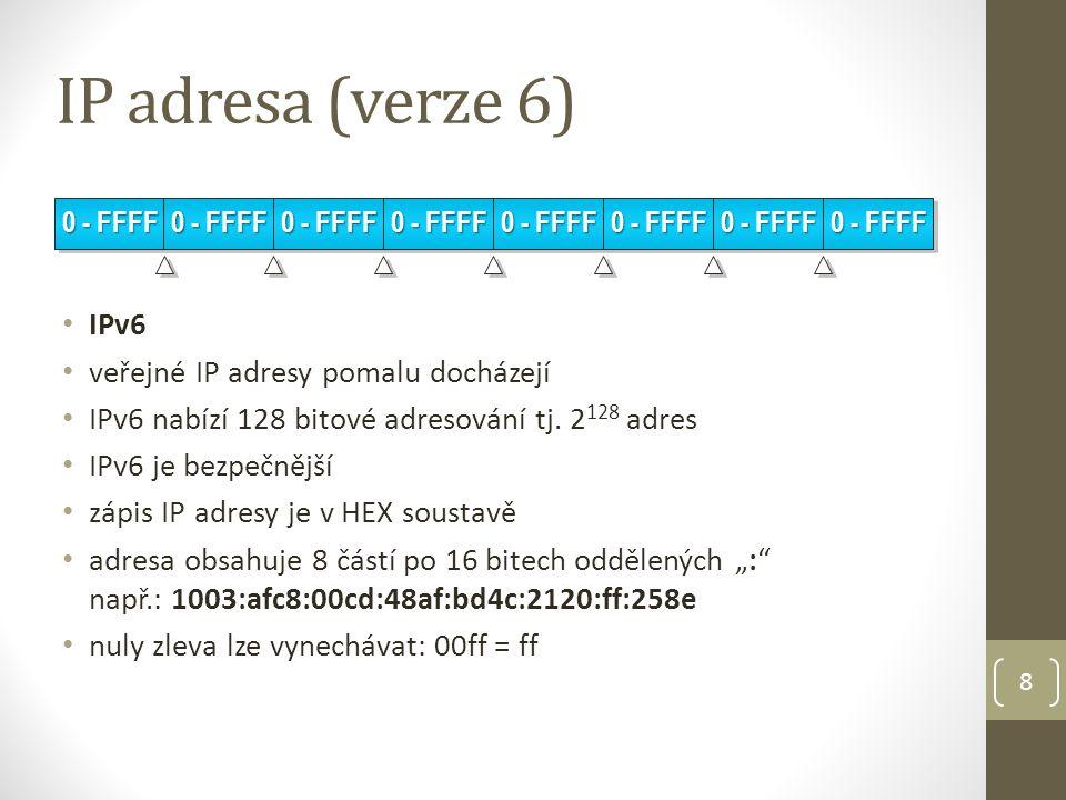 IP adresa (verze 6) IPv6 veřejné IP adresy pomalu docházejí