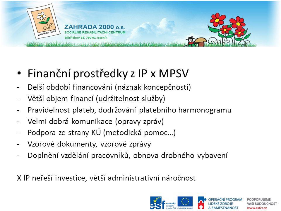 Finanční prostředky z IP x MPSV