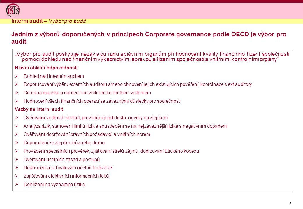 Interní audit – Výbor pro audit