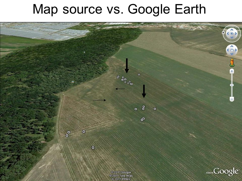 Map source vs. Google Earth
