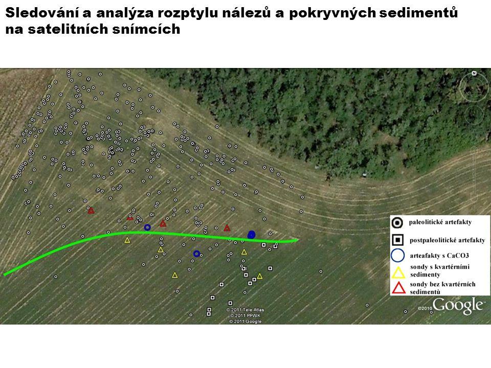 Sledování a analýza rozptylu nálezů a pokryvných sedimentů na satelitních snímcích
