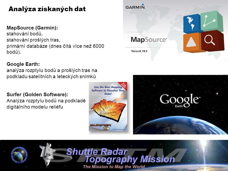 Analýza získaných dat MapSource (Garmin): stahování bodů,