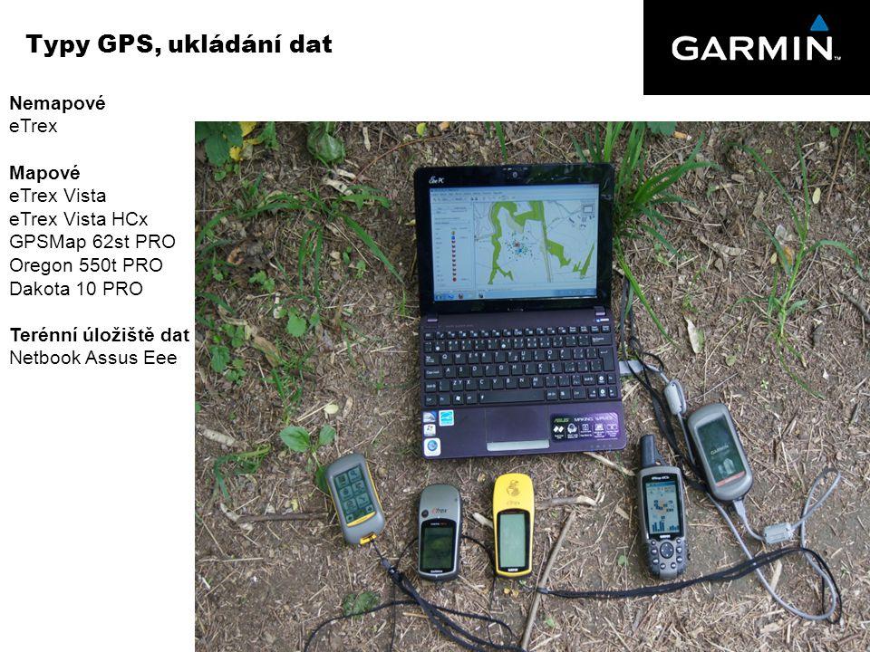 Typy GPS, ukládání dat Nemapové eTrex Mapové eTrex Vista
