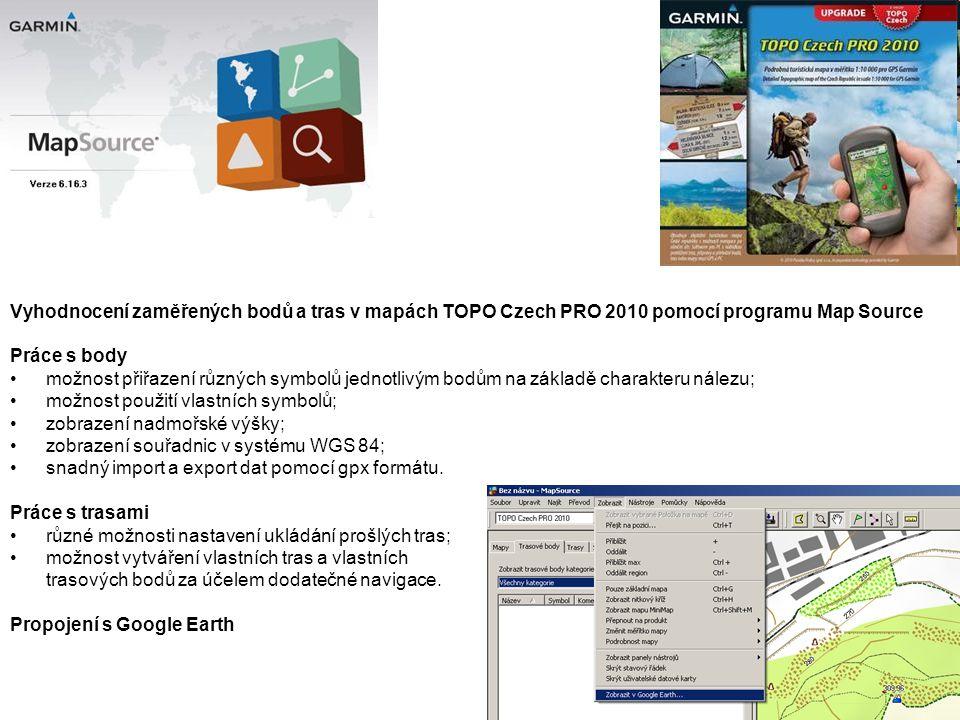 Vyhodnocení zaměřených bodů a tras v mapách TOPO Czech PRO 2010 pomocí programu Map Source