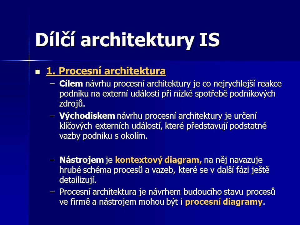 Dílčí architektury IS 1. Procesní architektura