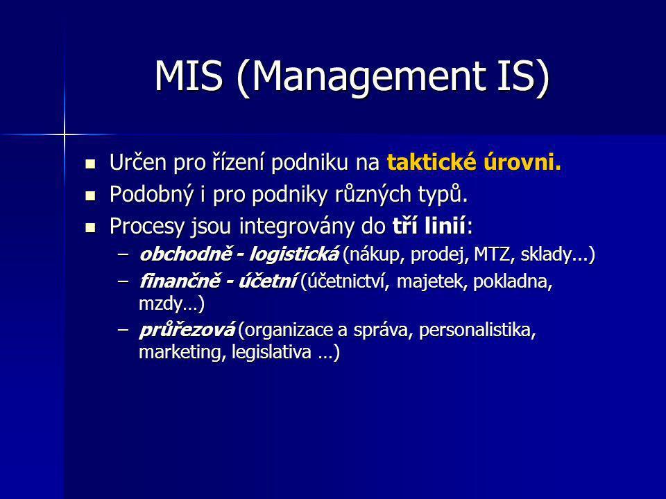 MIS (Management IS) Určen pro řízení podniku na taktické úrovni.