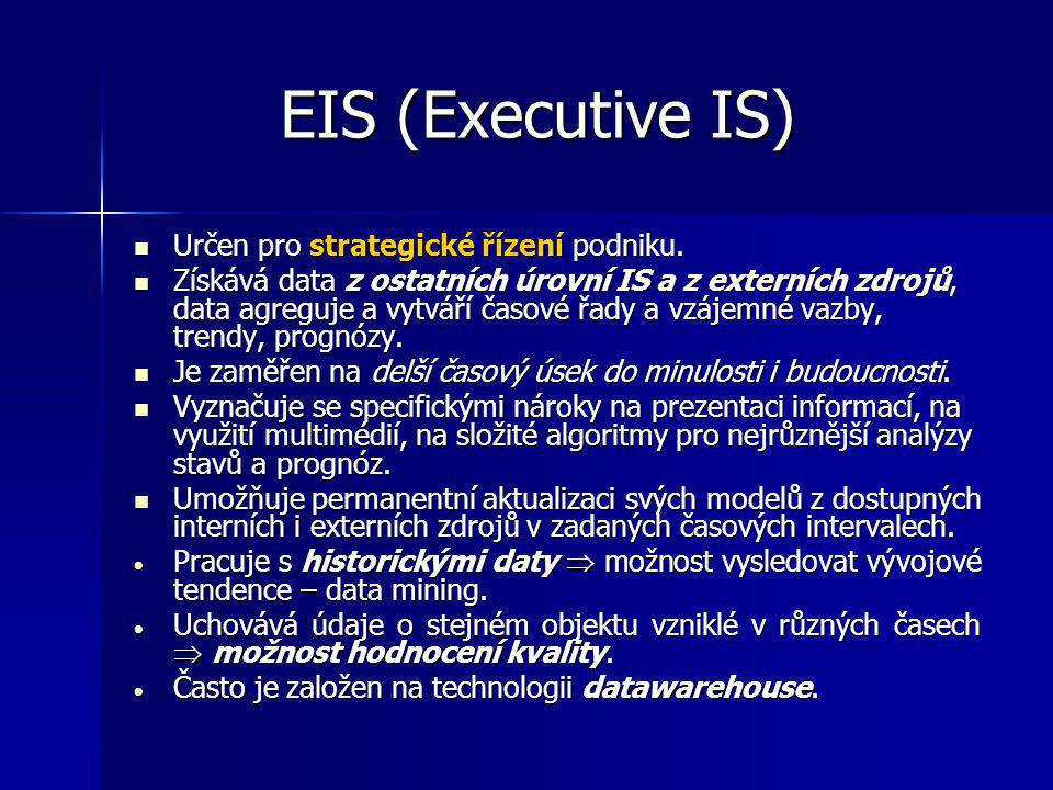 EIS (Executive IS) Určen pro strategické řízení podniku.