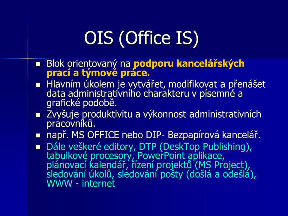 OIS (Office IS) Blok orientovaný na podporu kancelářských prací a týmové práce.