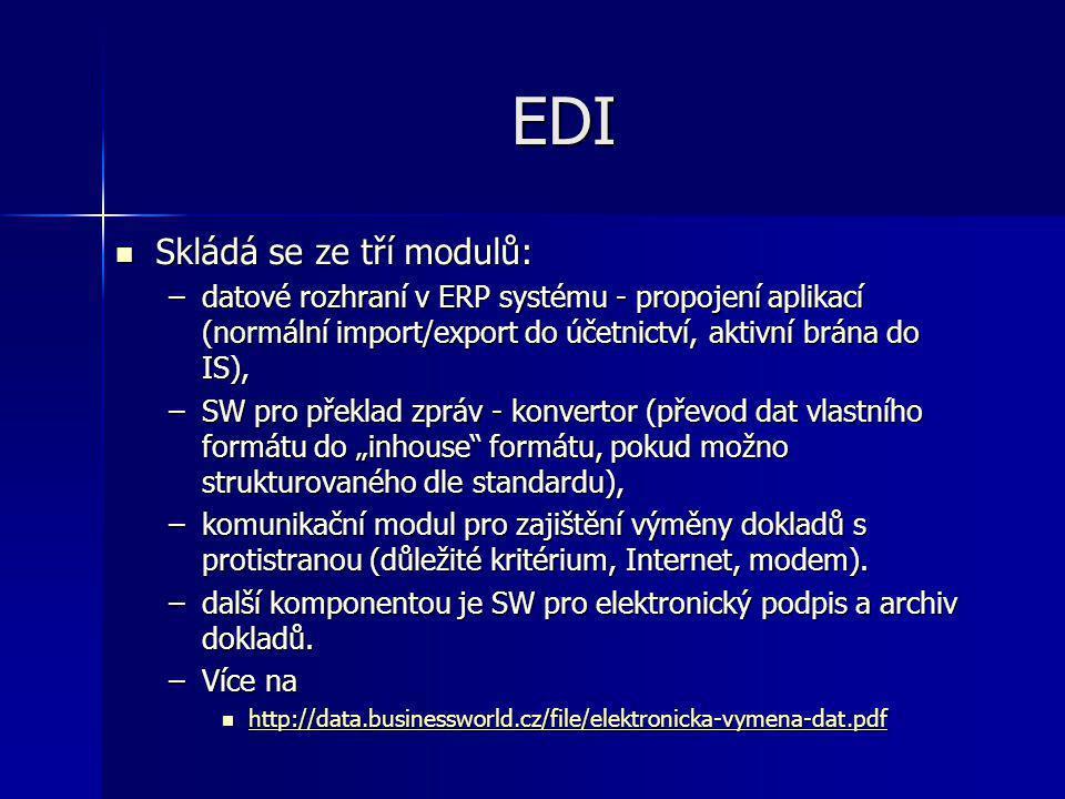 EDI Skládá se ze tří modulů: