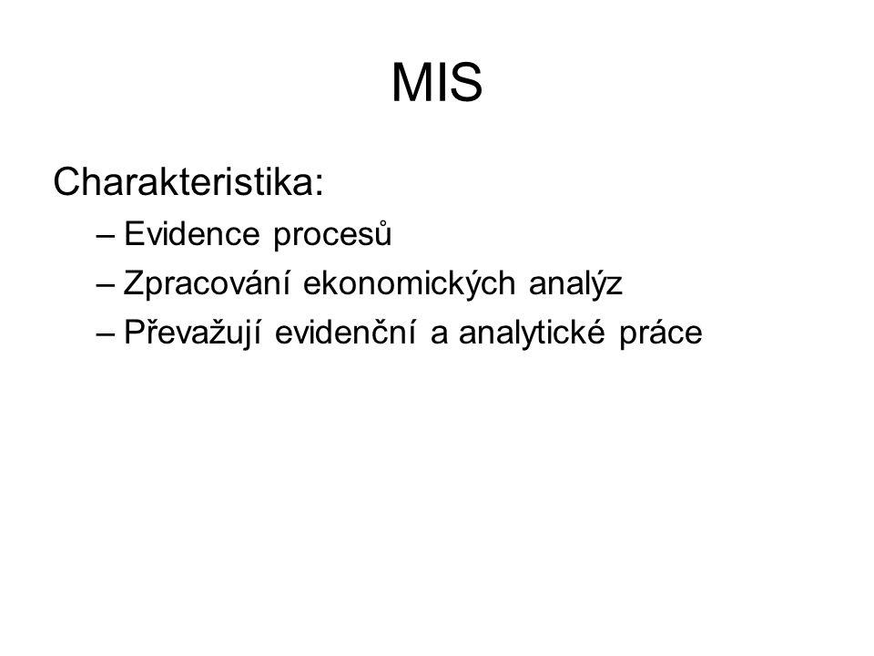 MIS Charakteristika: Evidence procesů Zpracování ekonomických analýz