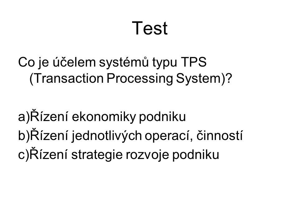 Test Co je účelem systémů typu TPS (Transaction Processing System)