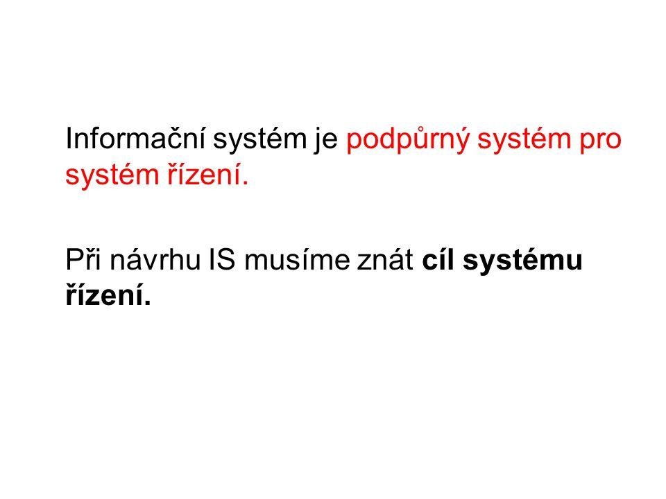 Informační systém je podpůrný systém pro systém řízení