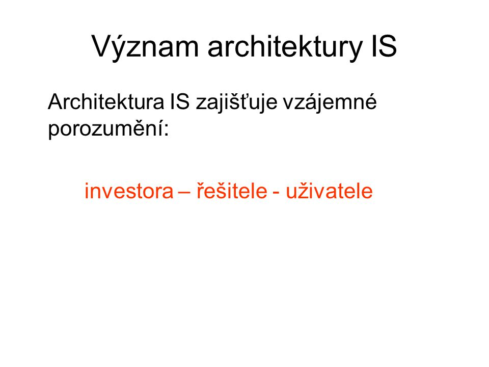 Význam architektury IS