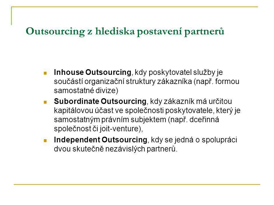 Outsourcing z hlediska postavení partnerů