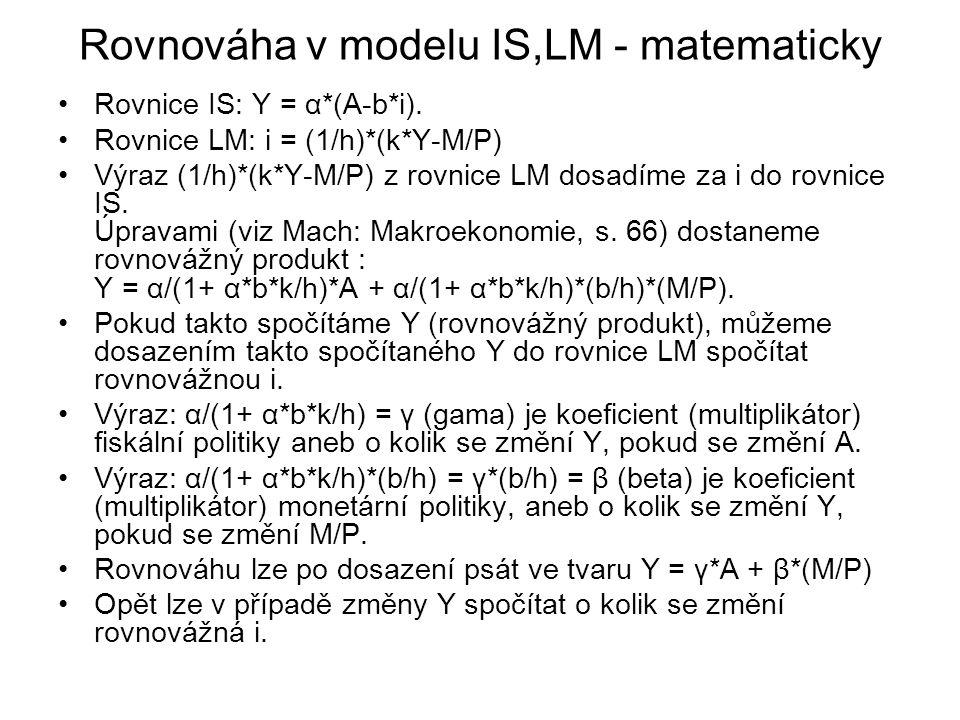 Rovnováha v modelu IS,LM - matematicky