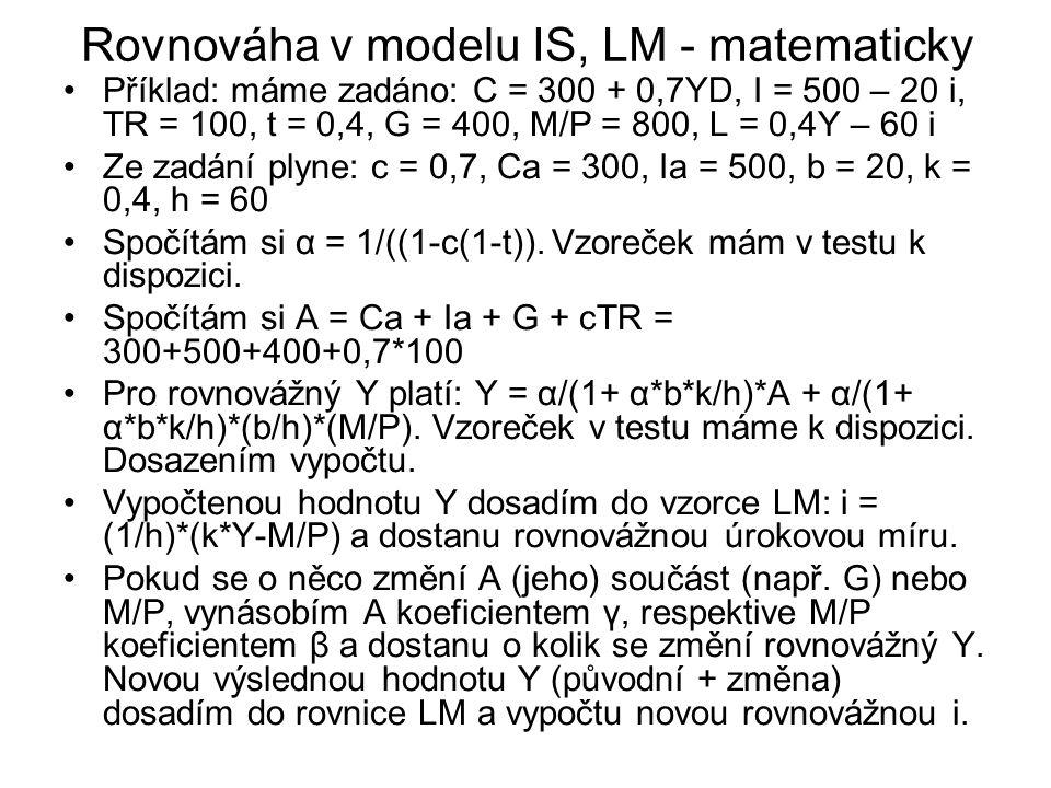 Rovnováha v modelu IS, LM - matematicky