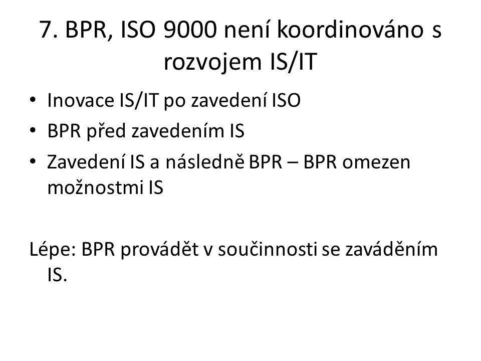 7. BPR, ISO 9000 není koordinováno s rozvojem IS/IT