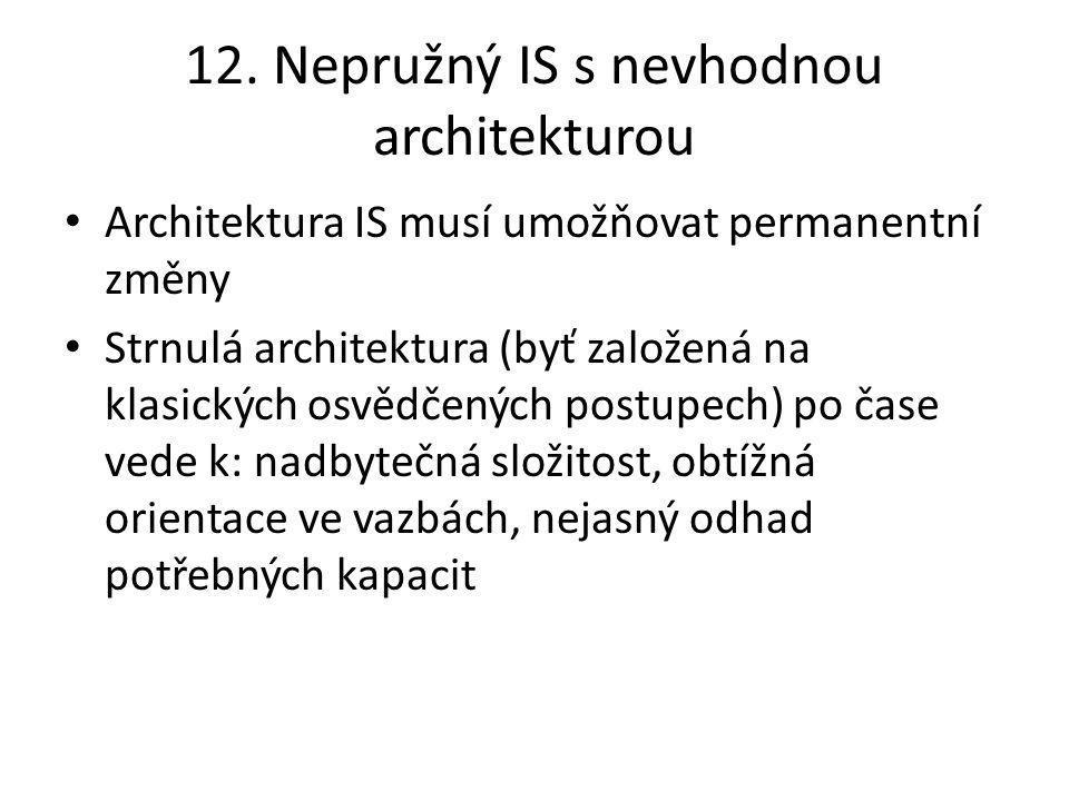 12. Nepružný IS s nevhodnou architekturou