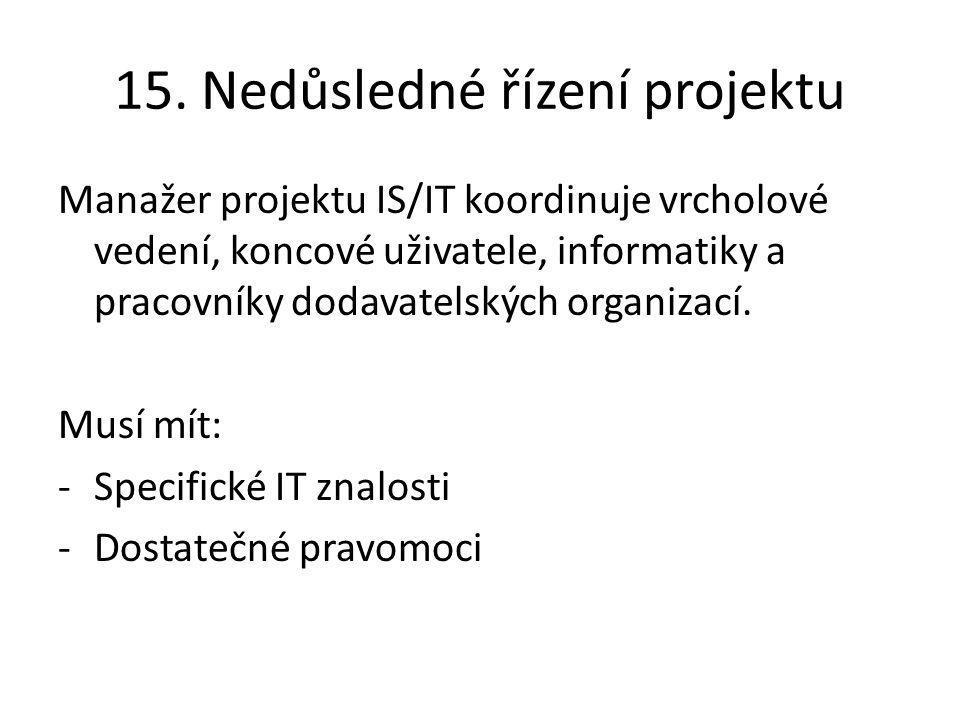 15. Nedůsledné řízení projektu