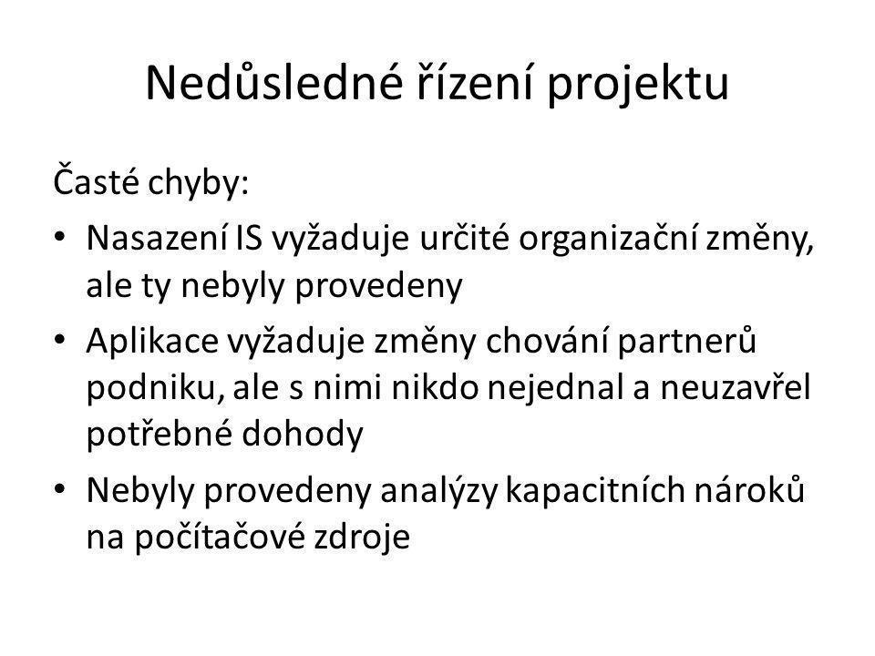 Nedůsledné řízení projektu