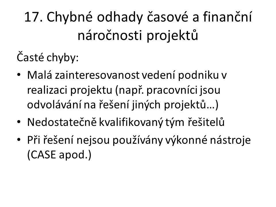 17. Chybné odhady časové a finanční náročnosti projektů