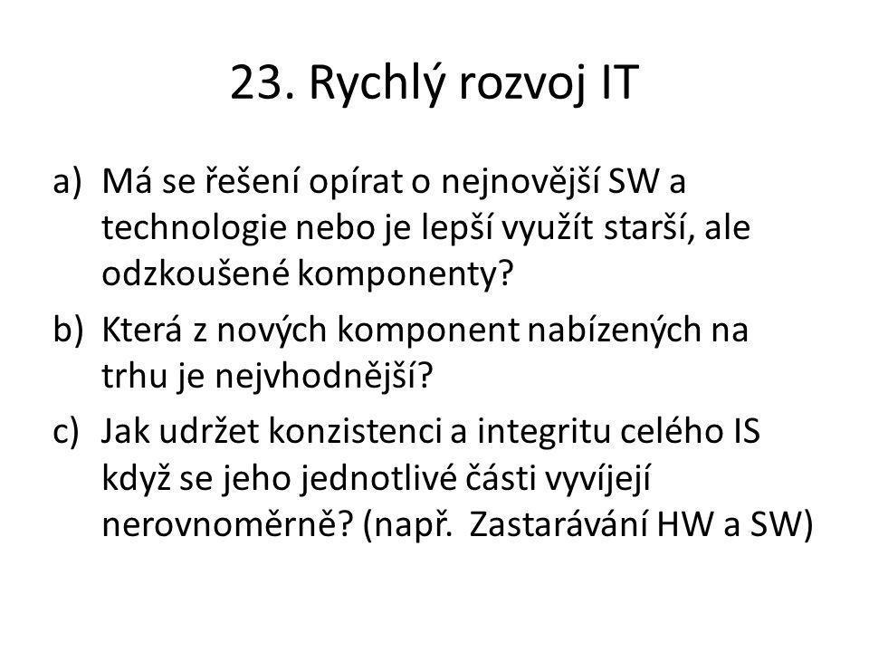 23. Rychlý rozvoj IT Má se řešení opírat o nejnovější SW a technologie nebo je lepší využít starší, ale odzkoušené komponenty