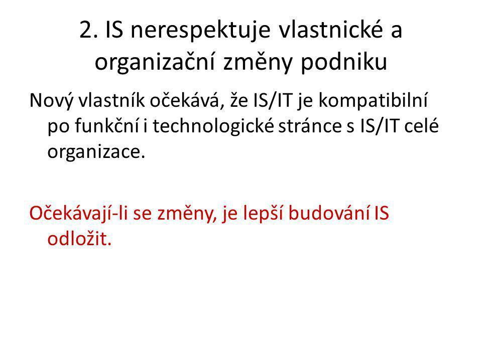 2. IS nerespektuje vlastnické a organizační změny podniku