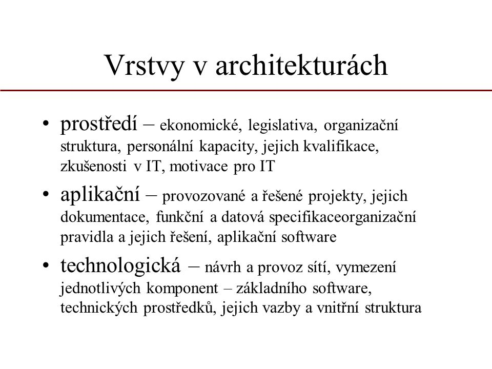 Vrstvy v architekturách