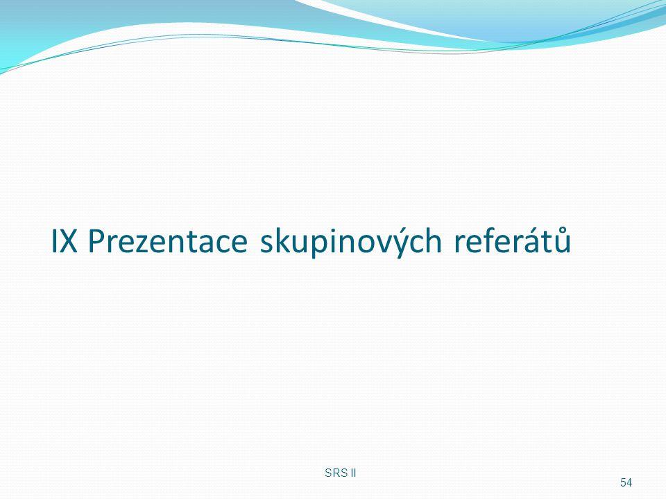 IX Prezentace skupinových referátů