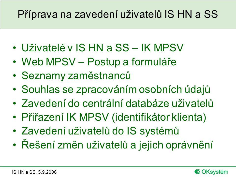 Příprava na zavedení uživatelů IS HN a SS