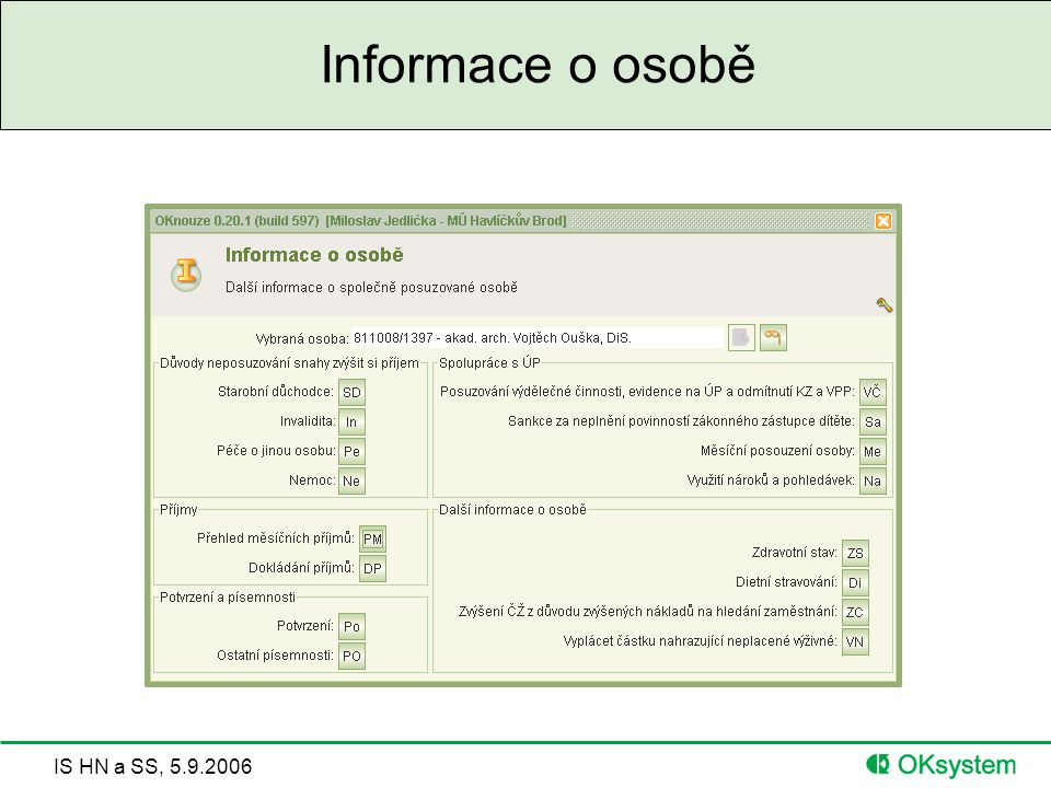Informace o osobě