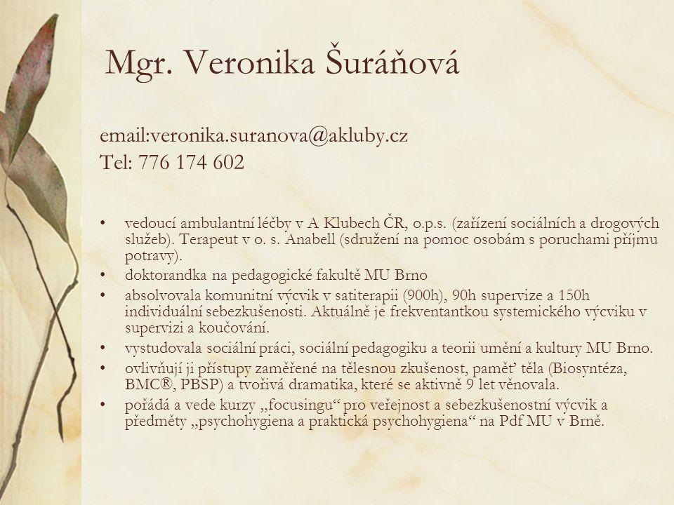 Mgr. Veronika Šuráňová email:veronika.suranova@akluby.cz