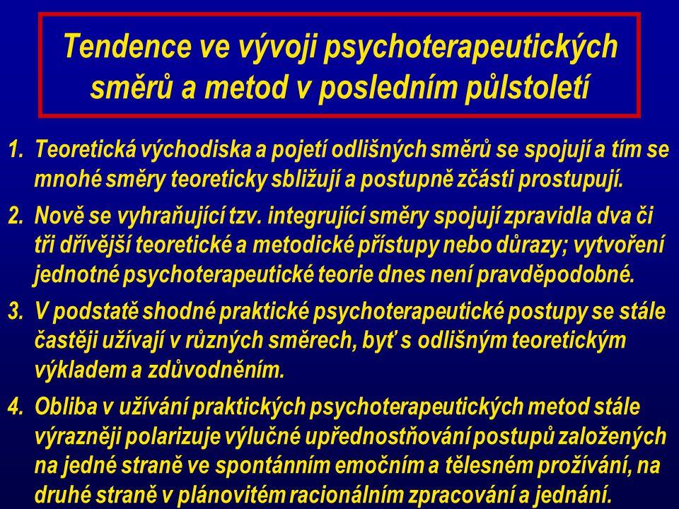 Tendence ve vývoji psychoterapeutických směrů a metod v posledním půlstoletí