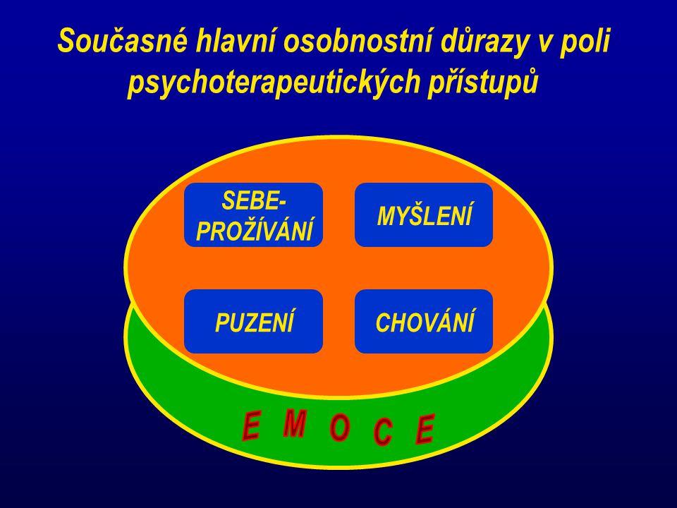 Současné hlavní osobnostní důrazy v poli psychoterapeutických přístupů