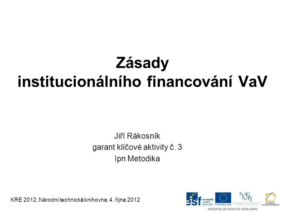 Zásady institucionálního financování VaV