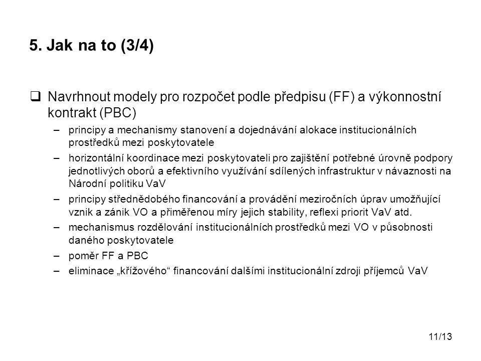 5. Jak na to (3/4) Navrhnout modely pro rozpočet podle předpisu (FF) a výkonnostní kontrakt (PBC)