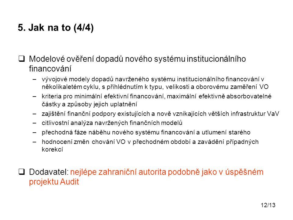 5. Jak na to (4/4) Modelové ověření dopadů nového systému institucionálního financování.