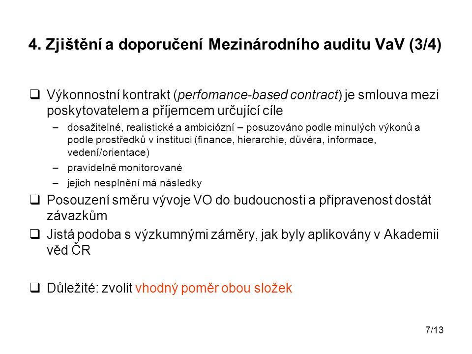4. Zjištění a doporučení Mezinárodního auditu VaV (3/4)