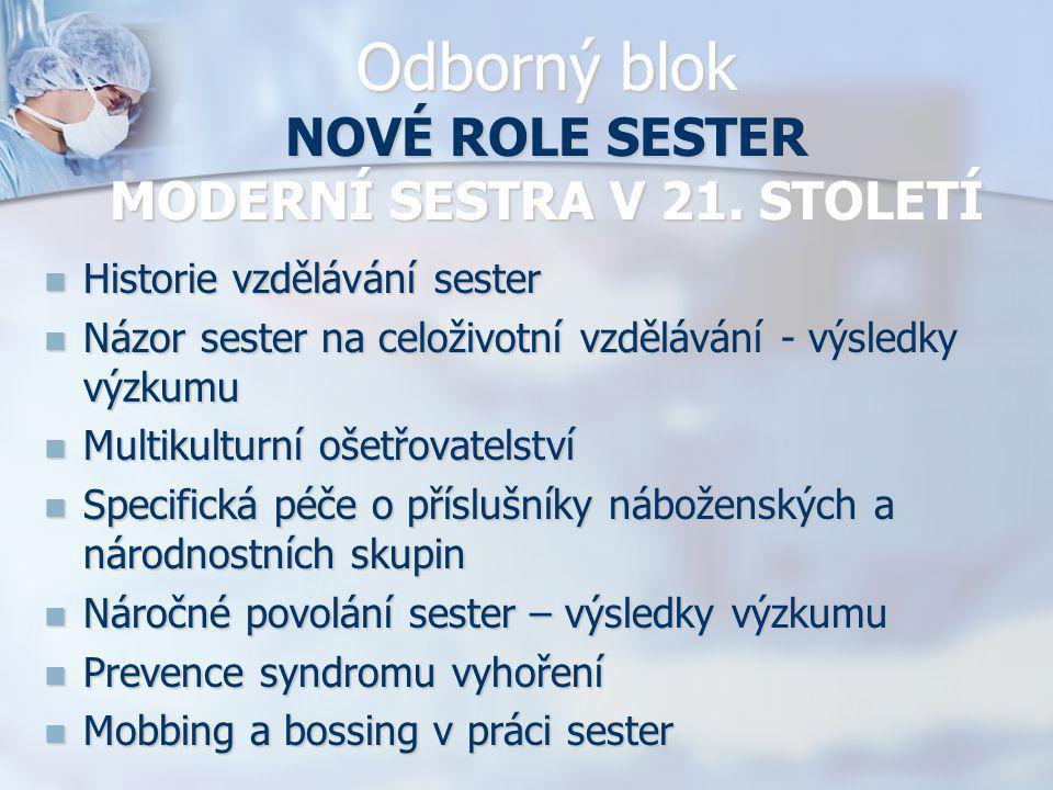 Odborný blok NOVÉ ROLE SESTER MODERNÍ SESTRA V 21. STOLETÍ