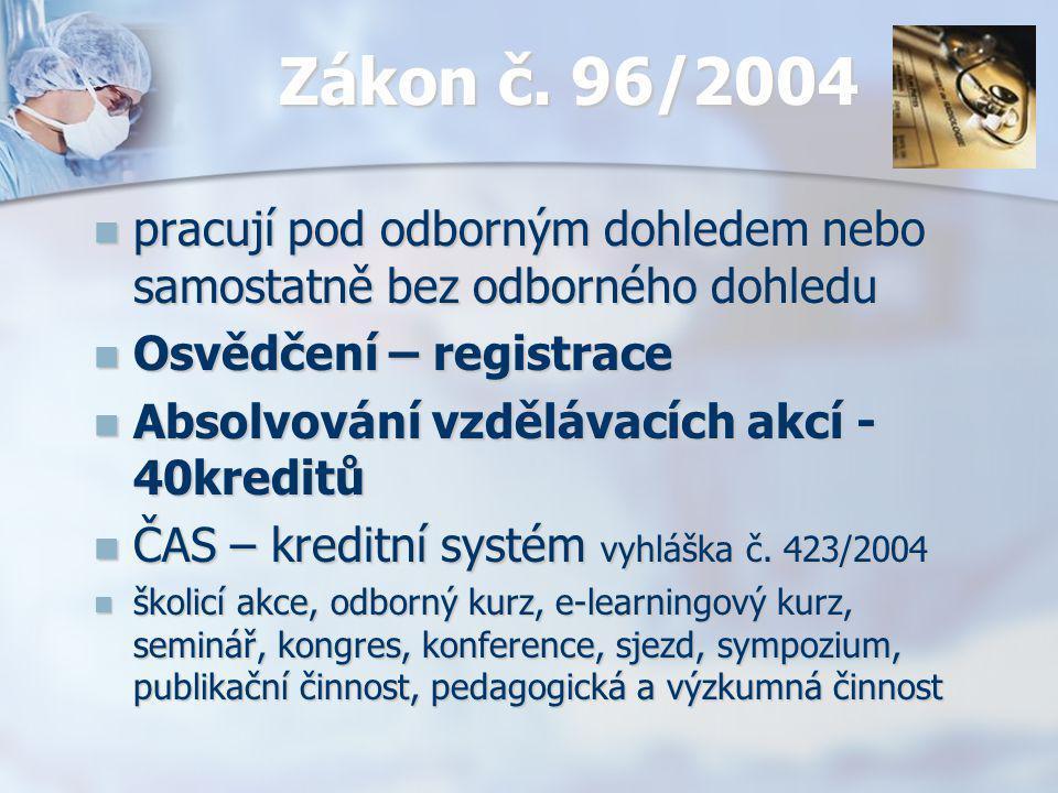 Zákon č. 96/2004 pracují pod odborným dohledem nebo samostatně bez odborného dohledu. Osvědčení – registrace.