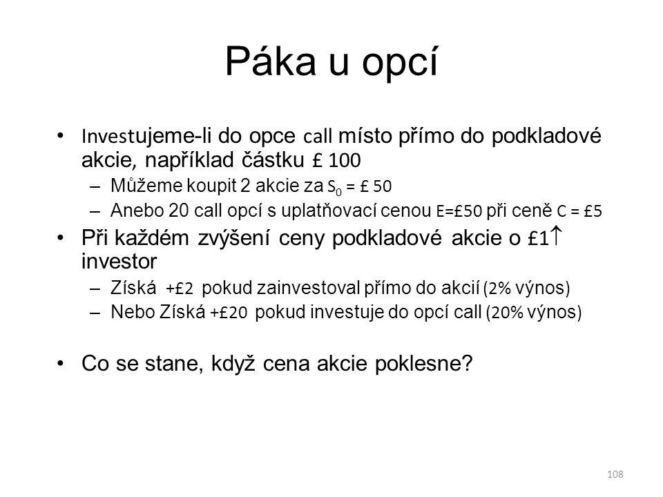 Páka u opcí Investujeme-li do opce call místo přímo do podkladové akcie, například částku £ 100. Můžeme koupit 2 akcie za S0 = £ 50.