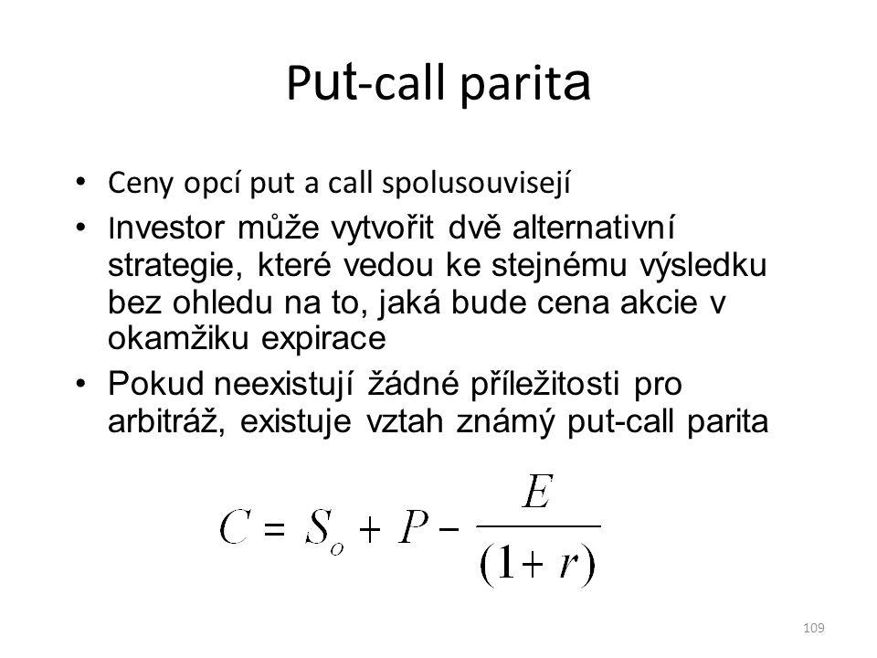 Put-call parita Ceny opcí put a call spolusouvisejí